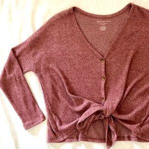 American Eagle Pink Cardigan Sweater, tie bottom